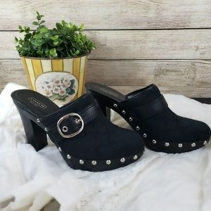 Coach Willow Black Buckle Studded Casual Mules
